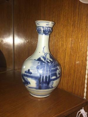 Antique rare 18th blue and white porcelain Chinese vase cobalt blue hand paint