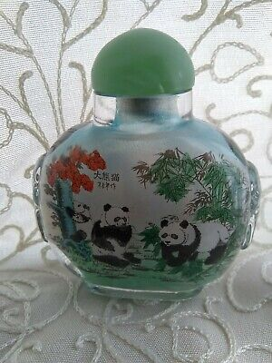 Vintage Panda Themed Asian Reverse Painted Glass Snuff Bottle with Stopper 2.5''