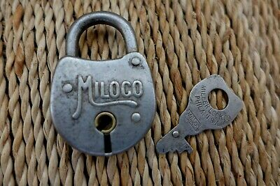 Antique Vintage Miloco Padlock with one key working order hobby collector 10-21