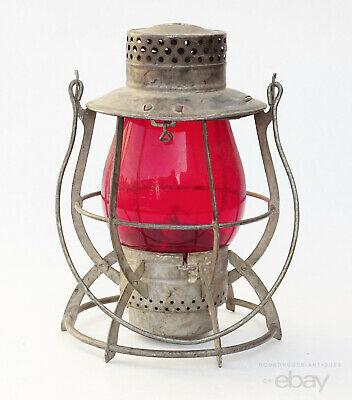 Antique Railroad Kerosene Lantern Dietz  No. 39 NYC Vulcan Red Glass Globe