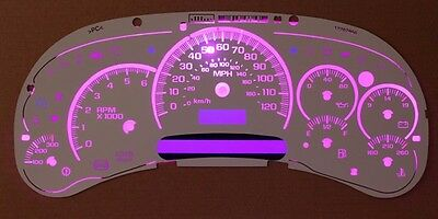 Chevy GMC Cluster White Face Temp Gauge Upgrade Kit 03 04 05 06 Clear Scales