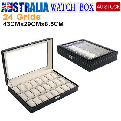 24 Grids Watch Jewelry Storage Hold Box Watches Sunglasses Display Gift