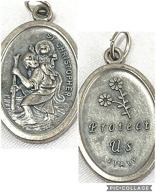 Vintage Catholic Medal Protects Us Mary Pendant Charm ITALY Saint St Christopher