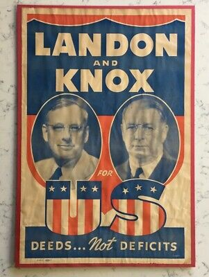 Alfred Landon And Knox Political Campaign Jugate Poster 1936 Deeds Not Deficits