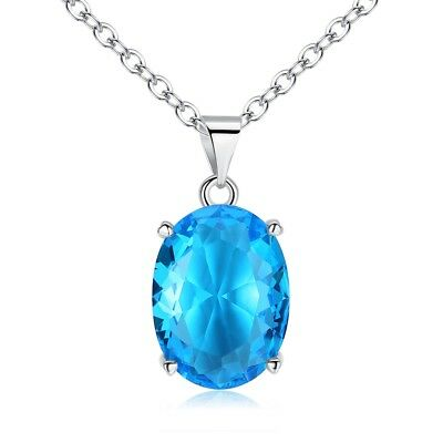 Aquamarine Silver for Women Jewelry Precious Gife Necklace Pendant 23mm NL109