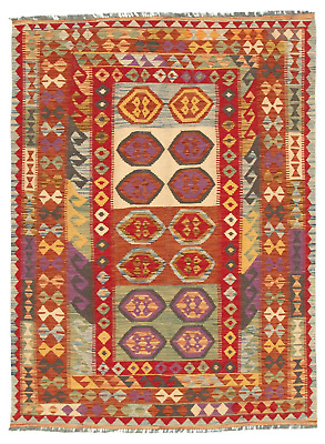 "Hand woven Turkish Kilim 4'11"" x 6'9"" Bold and Colorful  Flat Weave Rug"