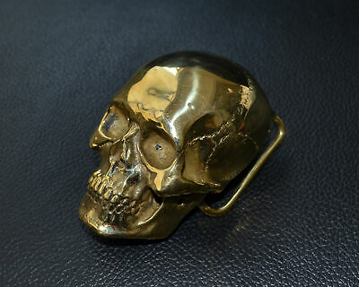 Copper Human Skull Mens Belt Buckle Brass Lost Wax casting hand polished Gift