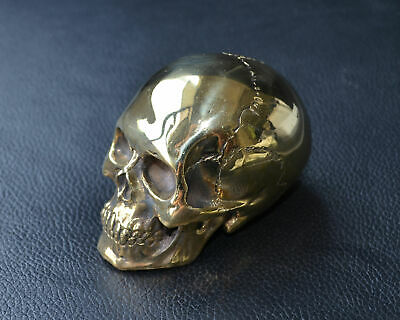 Copper Brass Casting Skull High Polished Mini Human Skull Gothic Table Display