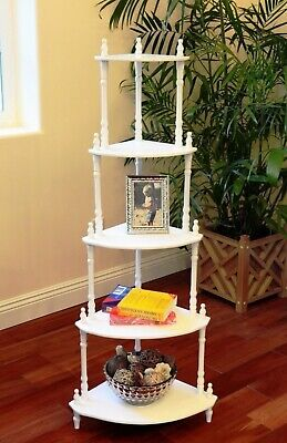 White Wooden 5 Tier Shelf Corner Stand Bookcase Curio Trinkets Plants Accent