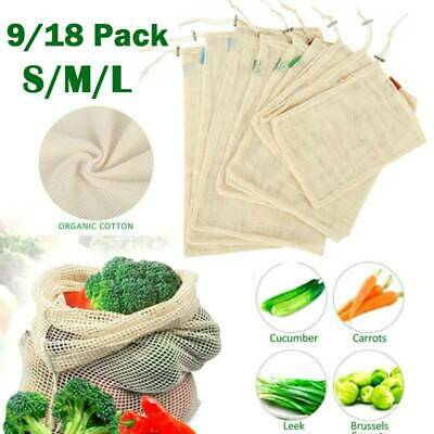 9/18X Eco Reusable Fruit Vegetable Produce Bags Natural Cotton Mesh Package Bag