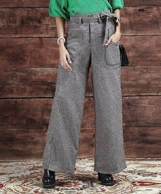 Grey Trousers Size 12 Ladies High Waisted Wide Leg 32L Womens Charcoal