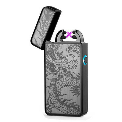 USB Rechargeable Windproof Double Arc Flameless Cigarette Lighter Electric Hot