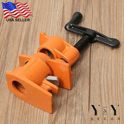 "(4 Pack) 3/4"" Wood Gluing Pipe Clamp Set Heavy Duty PRO Woodworking Cast Iron"