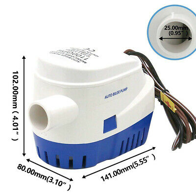 12V 1100GPH Boat Bilge Pump Marine Submersible Water Pump Automatic Float Switch