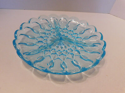 Vintage Indiana Glass Aqua Blue Divided Round 3 Section Relish or Candy Dish