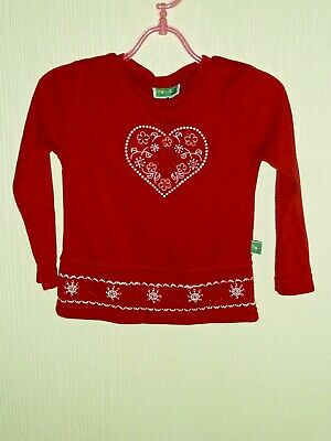 Girls red top with embroidered heart size 104 cm