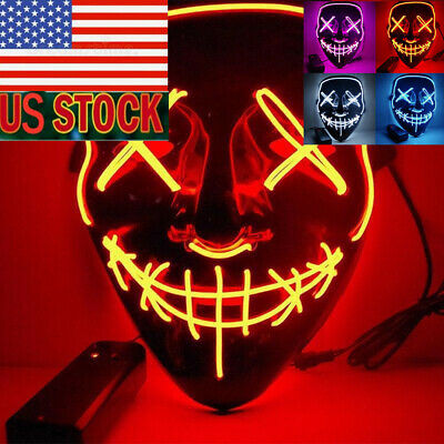 US 3-Modes LED Mask Decor Cosplay Costume Light Up Scary Halloween Party Purge