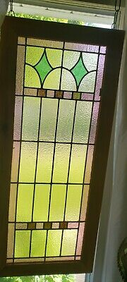 """Antique ~ Leaded ~ Slag ~ Stained Glass Window ~ 42.5"""" X 18.5"""""""