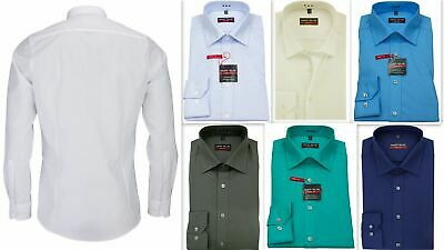 Mens Shirt Marvelis Body Fit Slim Fitted Easycare Cotton Long Sleeve