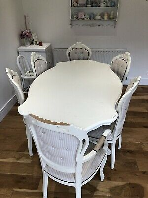 Dining Table and 6 Chairs Carved french style shabby chic