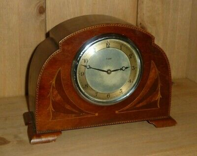 Vintage 8 day inlaid Smiths English Clocks mantel clock - good working order