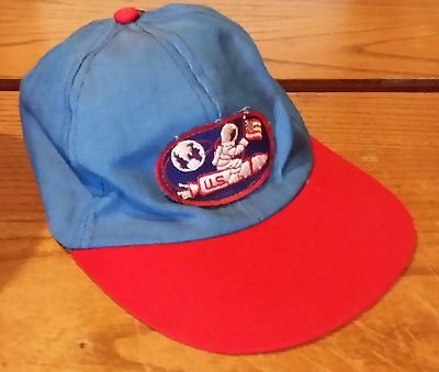 Vintage Youth Trucker Baseball Hat Astronaut Patch Rocket Flag Cool Hipster