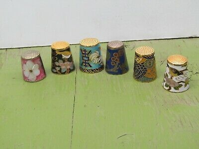 Lot of 6 collector thimbles gold cloisonne enamel mother of pearl lot 18