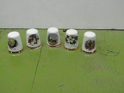 Lot of five Finsbury of England Christmas scene Collector thimbles lot 21