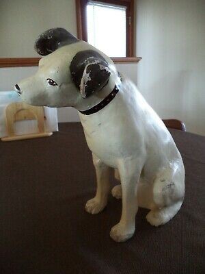 """Vintage """"Nipper Rca Victor Dog"""" Paper Mache Store Display 11 Inches Tall"""