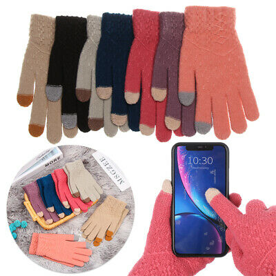 Finger Warm Soft Touch Screen  Mittens Knitted Gloves Full Finger Thicken Warm