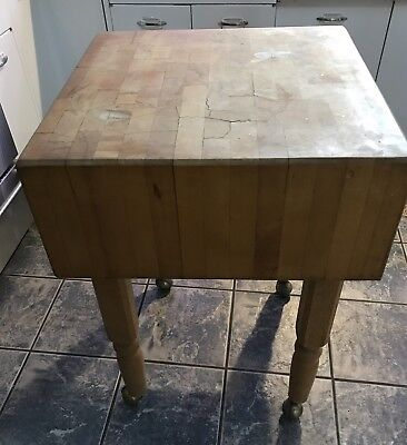 Boos Maple Dovetailed Butcher Block Table Cutting Board Brass Wheels Vintage