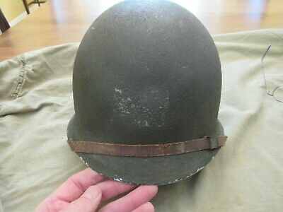 WWII US M1 Fixed Bale Helmet with Westinghouse Liner and Chinstrap - GI named