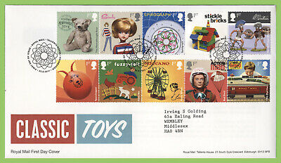 G.B. 2017 Classic Toys set on Royal Mail First Day Cover, Tallents House