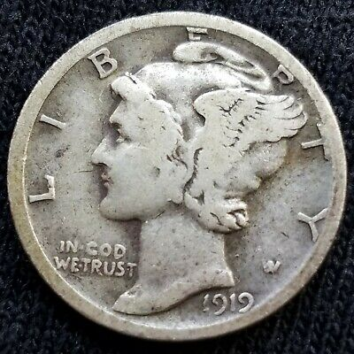 1919-S 10C Mercury Silver Dime  San Francisco Mint