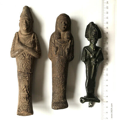 2 Ancient Egyptian Ushabti Shabtai -1 Bronze Osiris