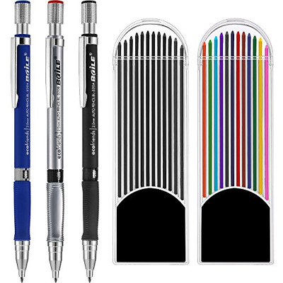 3 Pieces 2.0 mm Mechanical Pencil with 2 Cases Lead Refills for Draft Drawing US