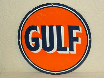"Vintage Gulf 12"" Porcelain Metal Sign  - oil gas station pump man cave"