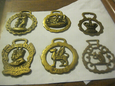 Lot of 7 Vtg English Brass Horse Harness Bridle Medallions Parade Ornaments