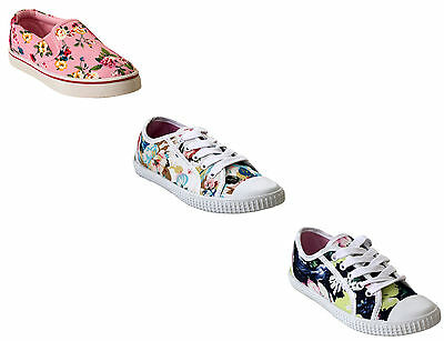 Girls Plimsolls Pumps Kids Infants Floral Flat Canvas Trainers Shoes Size Uk 8-2