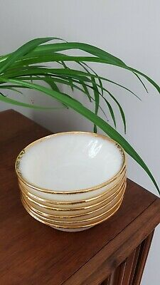 Set of 6 Fire King Gold Rim Fruit Dessert Bowls Vintage Oven Ware Custard 5""