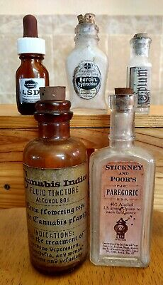 Old Medicine Bottle Hand Crafted,Opium,Bayer w/Heroin, Cannabis, LSD, Paregoric