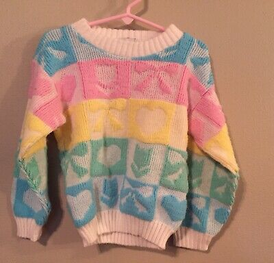 Vintage Toddler Girls Pastel Sweater 80s Hearts Flowers Fairy Kei  Sz 3/4T