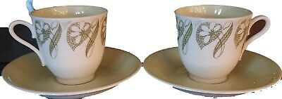 Pair of very dainty Coffee cups by Roslyn China 'Green Sleeve' numbered