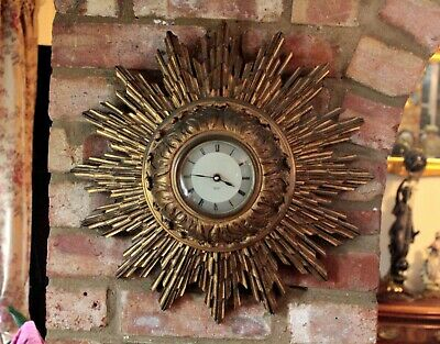 Vintage Wall 'Smiths' Quartz Clock in Carved Solid Wood Gilded Star Shape Case
