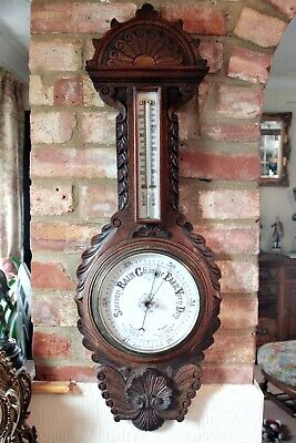 Antique Large Rare Aneroid Barometer with Thermometer in Carved Solid Oak Case