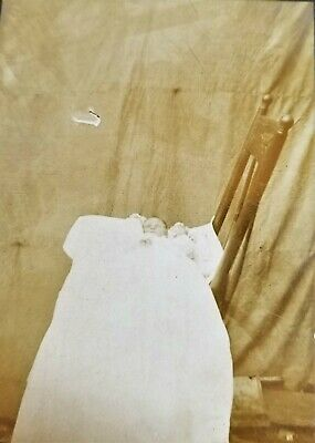 Small Antique Original Post Mortem Photograph Of Deceased Baby On Chair