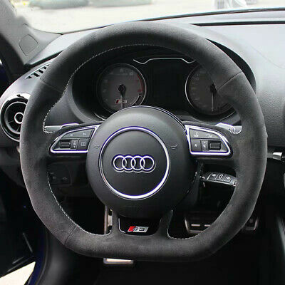 FOR AUDI A4 B5 B6 BLACK PERFORATED LEATHER STEERING WHEEL COVER 94-05 RED STITCH