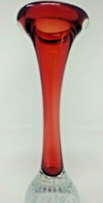 Vase Red Glass With Controlled Crystal Bubble Base Vintage Excellent Condition