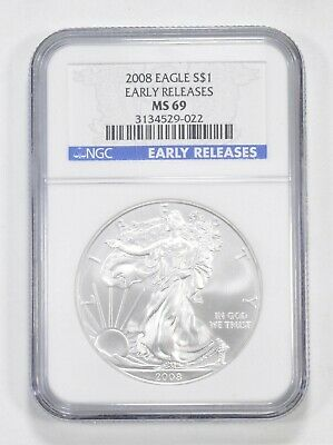 MS69 2008 American Silver Eagle - Early Releases - Graded NGC *828