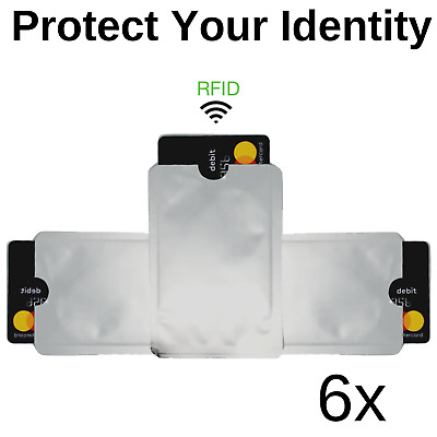 6 Pack Credit Card Protectors and RFID Blocking Sleeves Free Shipping US